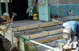 Ремонт крыльца подъезда № 6 в доме по адресу ул. Гашкова, 29Б