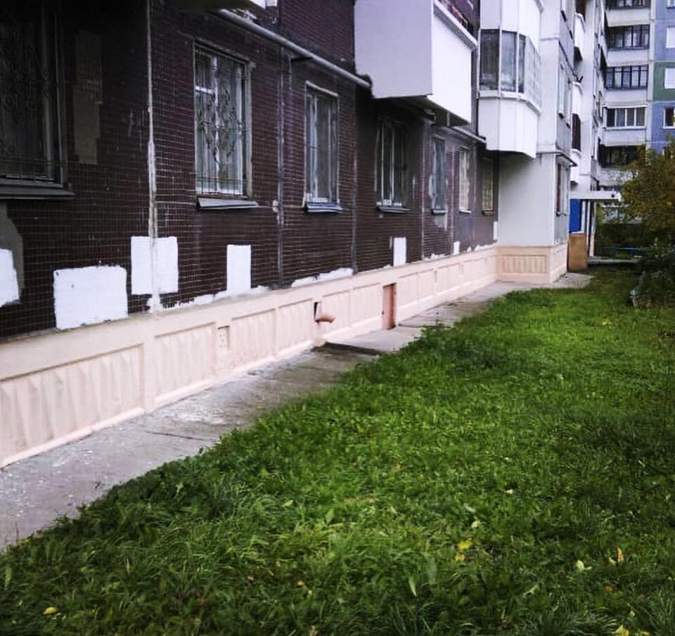 Фасадная покраска цоколя здания